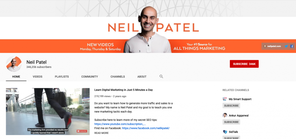 Neil Patel on YouTube