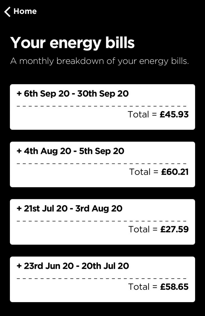 Octopus Energy App showing your energy bills