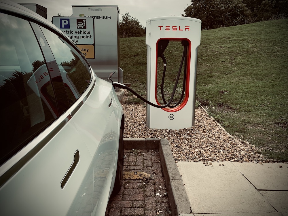 Tesla Supercharger at Warwick Services